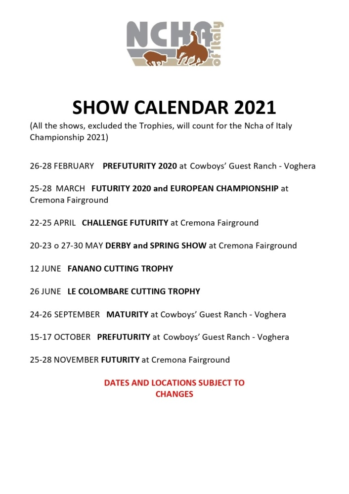 NCHA of Italy Shows Calendar 2021